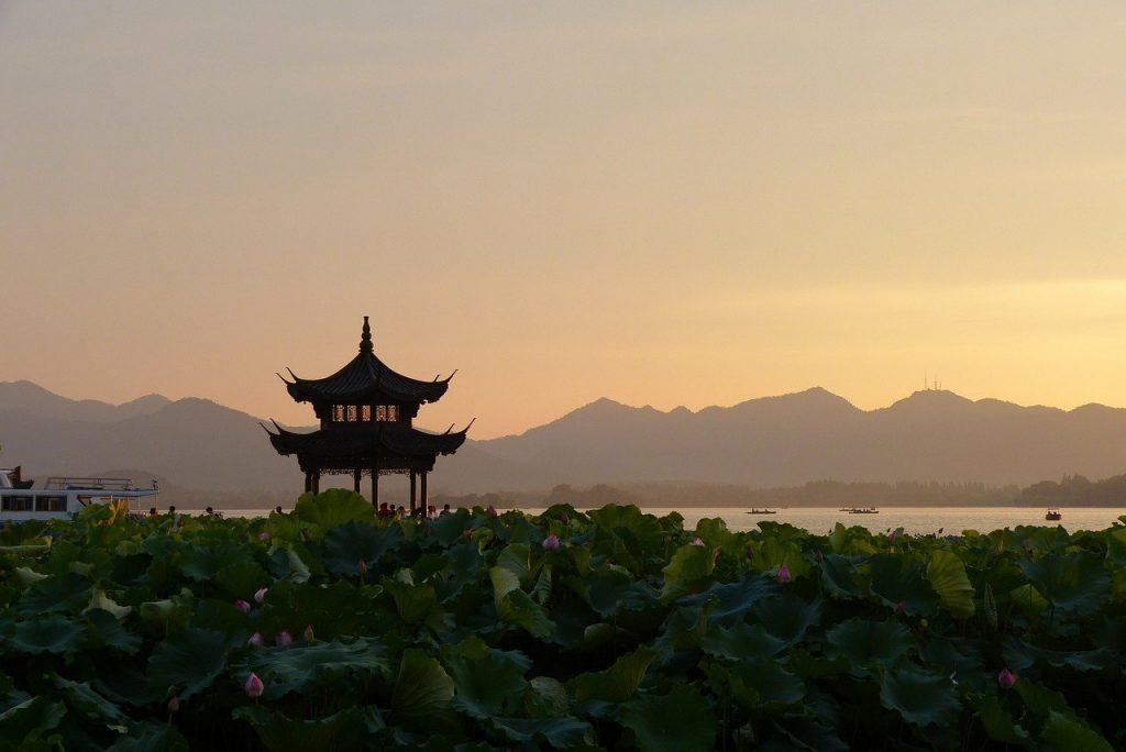sunset, china, pagoda